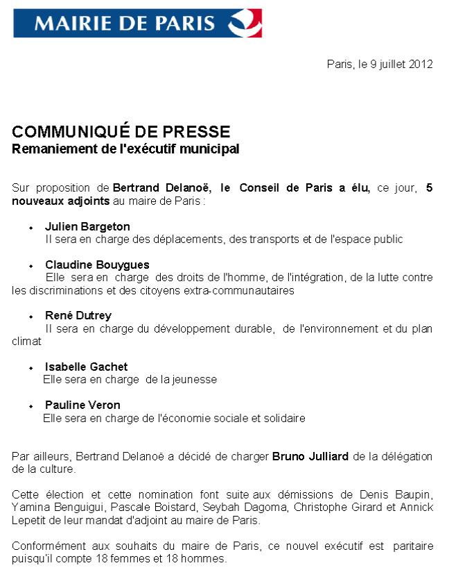 communiqu de presse de la mairie de paris eelv paris 13. Black Bedroom Furniture Sets. Home Design Ideas