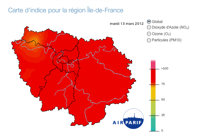 Carte AIRPARIF de la pollution