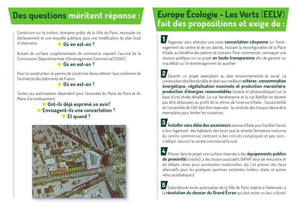 Explications détaillées sur le projet d'extension du centre commercial Italie 2, l'avenir de Grand Écran et la Place d'Italie.