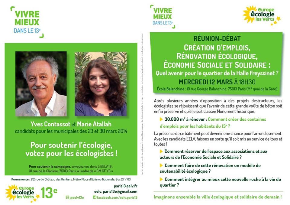 Tract d'invitation pour la réunion du 12 mars sur l'avenir de la Halle Freyssinet et son quartier (recto)