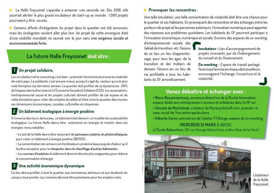 Tract d'invitation pour la réunion du 12 mars sur l'avenir de la Halle Freyssinet et son quartier (verso)
